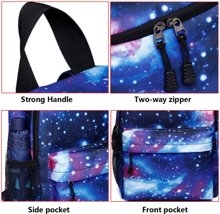 Starry Colorful School Backpack Bag Galaxy Stylish Pattern Students Bag with USB Charge port