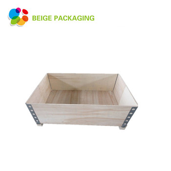Collapsible hinge wooden packaging storage box