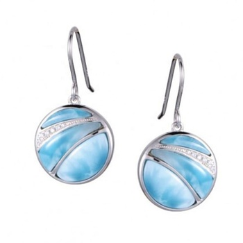 925 Sterling Silver Drop Earring New Design Round Shape Larimar Drop Earring