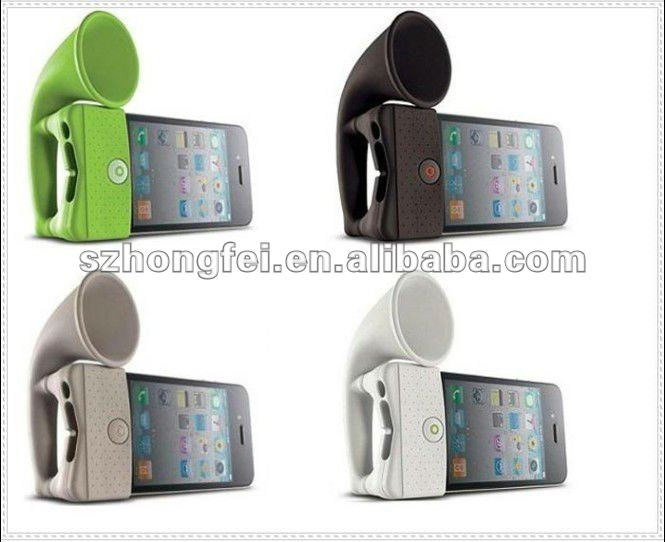 2012 very hot selling different colors for apple iphone silicone mini horn speakers