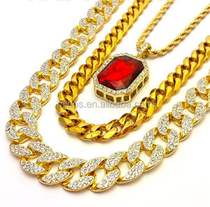 New Fashion Design Gold Cuban Link Diamond Gold Finish Miami Cuban Link Large Red Ruby Chain
