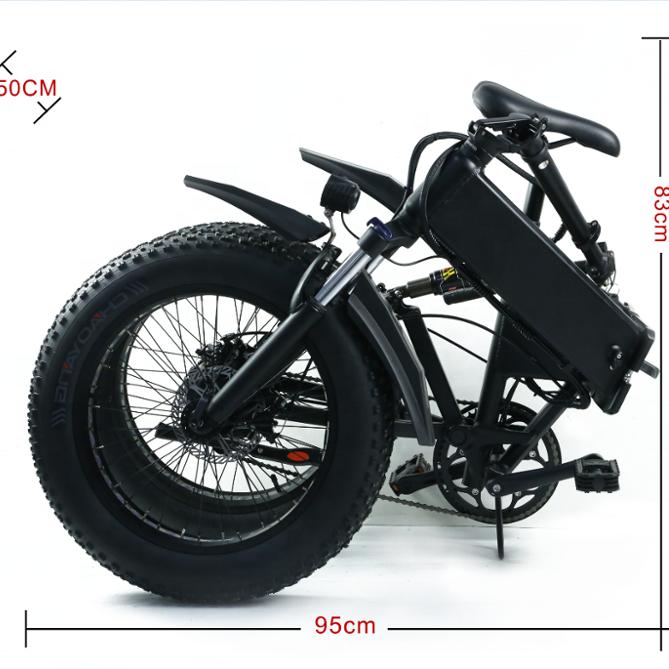 Bafang 48V 1000W BBSHD Mid Motor 20 inch Folding Snow Fat Electric Bicycle tire 20x4.0 Ebike Professional Hydraulic Disc Brake, Black