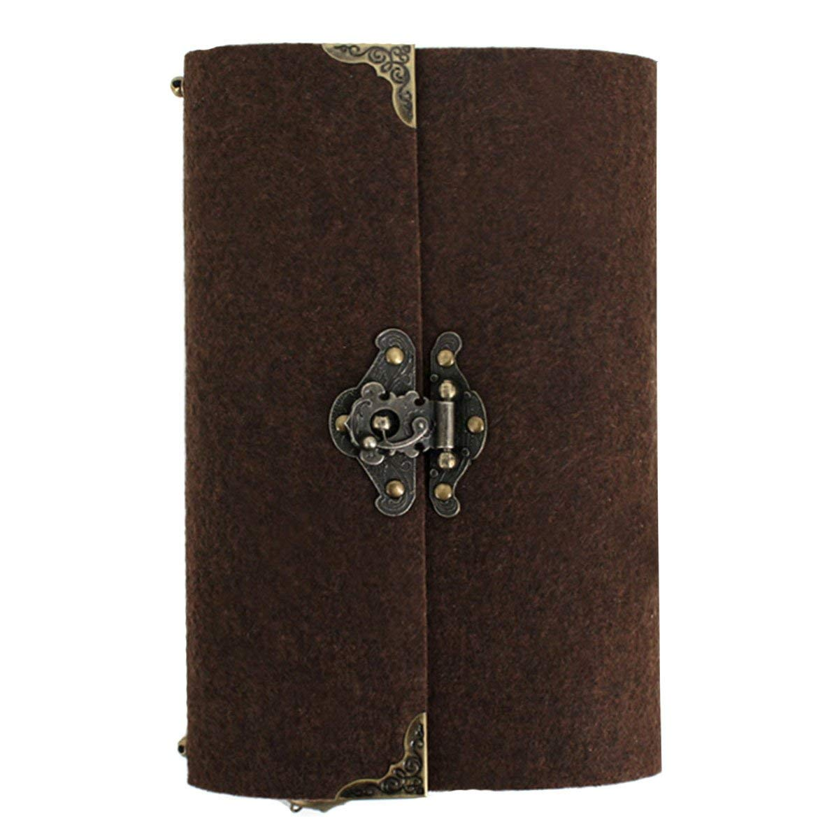 Clara Retro Slim Felt Cover Hardcover Notebook Diary Sketchbook Gifts with Vintage Bronze Lock Chocolate(lined or no line, random deliver)