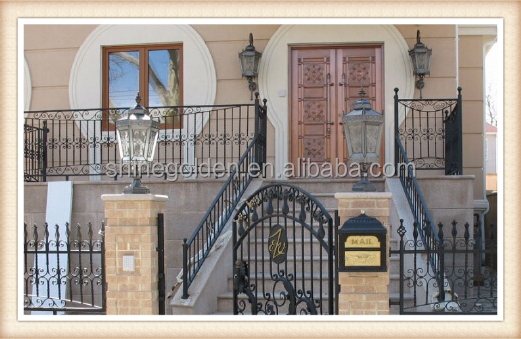 GYD-15G0129 strong คอลัมน์ Bronze ภาพวาด wrought Iron Swing Gates