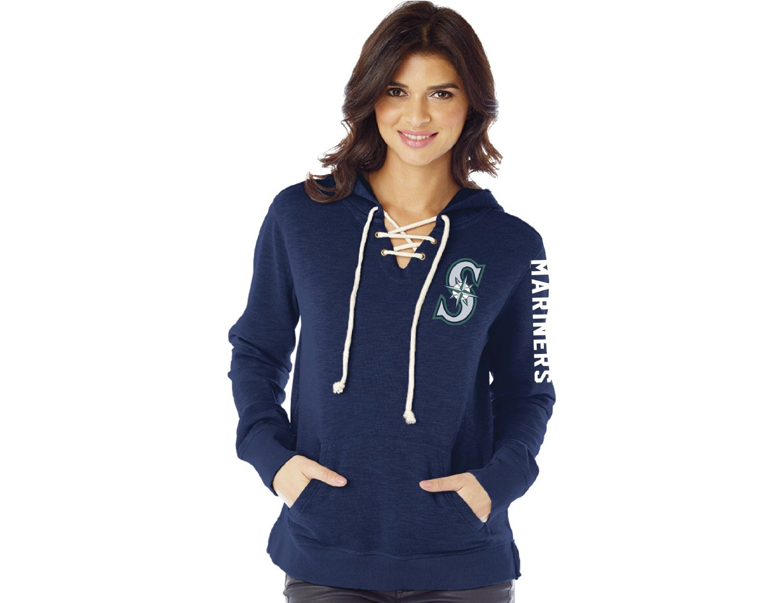 MLB Seattle Mariners Women's Slub Fleece Lace Hoodie, Medium, Navy