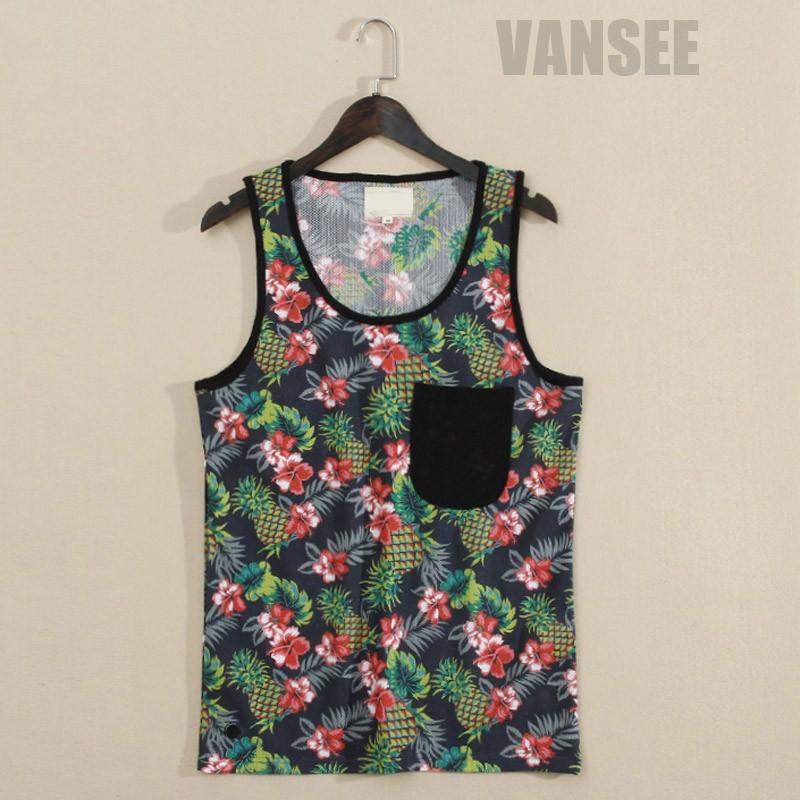 Oem Mesh Flower Pattern Tank Tope Mens Dry Fit Summer Vest