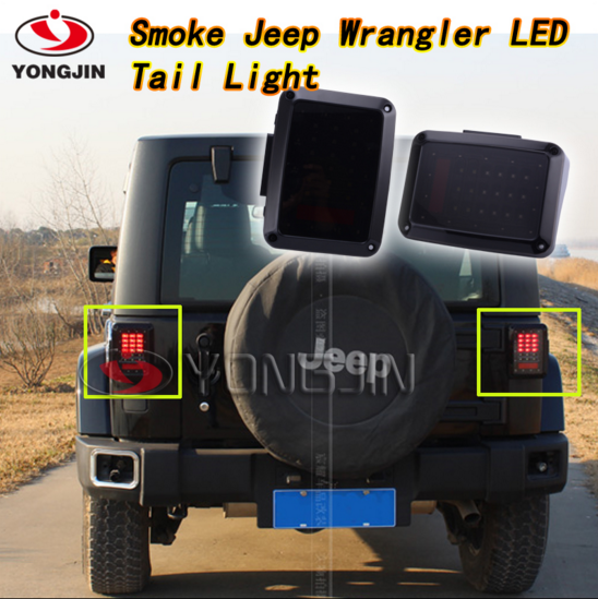 1 set USA Smoked Lens Red Led Tail light Assembly W/Turn Signal & Back Up for Jeep Wrangler JK 2007-2015