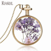 RAKOL Jewelry fashion necklaces pure handmade necklace natural plant glass vial dried flower specimen pendant FN019