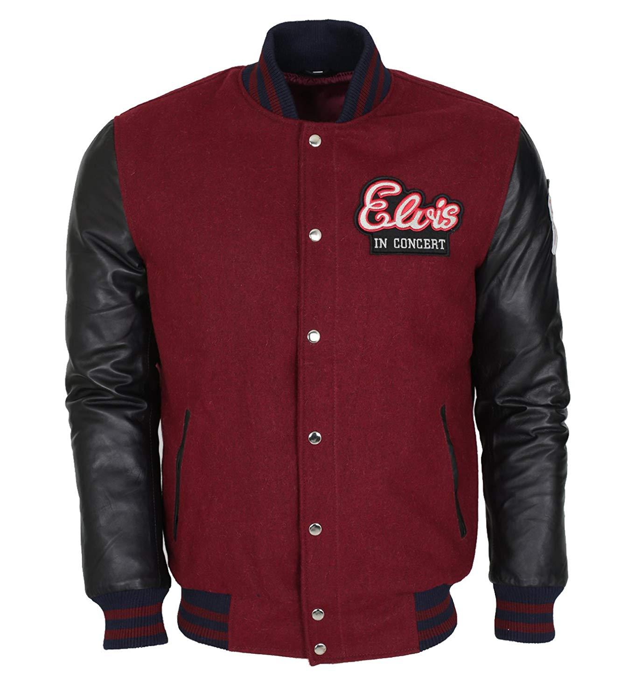 fe10227b63b Get Quotations · Elvis Presley Real Wool Leather Sleeves Varsity Jacket