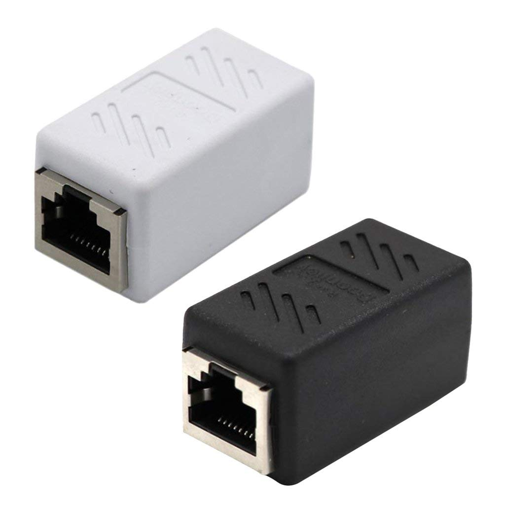 Baoblaze 2 Pieces Cat5 RJ45 Lan Network Ethernet Cable Extender Coupler Connector