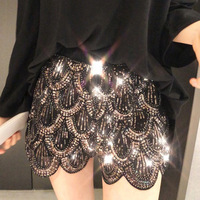 Wholesale women fancy bling black white sequin shorts bead design sexy high waisted floral irregular stretchy club party shorts