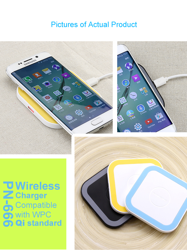 Pineng portable slim wireless charger with QI system