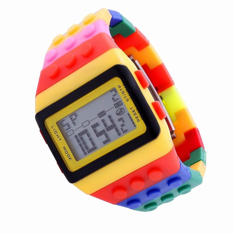 Hot sales colorful stripe plastic band square shape led display digital movement men sports rainbow watch фото