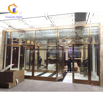 High-quality materials custom design decorative stainless steel plating hotel luxury door sets