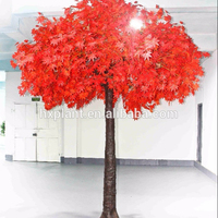 Hot sale artificial lifelike fiberglass trunk red maple tree