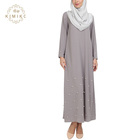 New Trendy Islamic Women Grey Abaya Modern Fashion Pearl Hem Muslim Dress