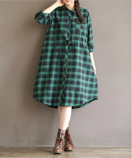 Plus size top green plaid style women casual check shirt design for fat women