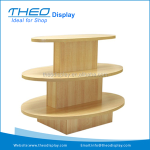 Free Standing 3 Tier Maple Wooden Oval Retail Display Table
