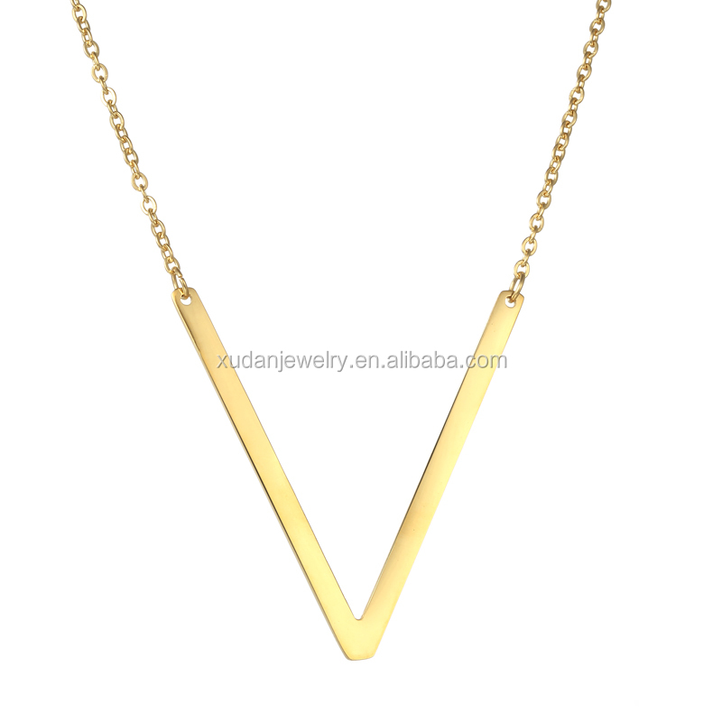 2017 New Alphabet Letter Pendant Charm Necklace Women Men Jewelry 24K Gold Plated Initial Letter Choker Stainless Steel Necklace