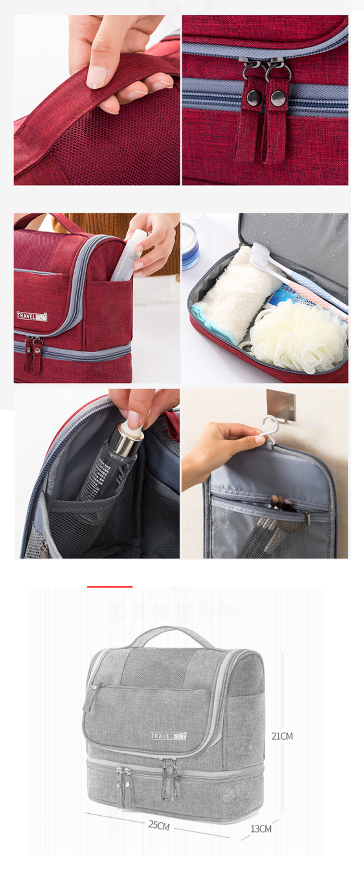 Osgoodway2 Double Layer Dry Wet Separation Cosmetic Bag Waterproof Hanging Travel Toiletry Bag