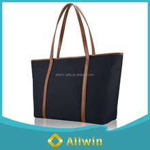 Custom fashion nylon women shoulder bag with pu handle