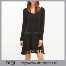 Latest styles china factory wholesale Casual Black V Neck Tassel Trim Long Sleeve mature women dresses