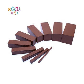 Preschool Teaching Aids Wooden Educational Learning Toy Montessori Sensorial Material - Beechwood Brown Stairs