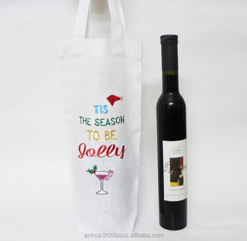 Christmas Wine Bottle Bags Linen Tote Bag Personalized Gift Cosmetic Product On Alibaba
