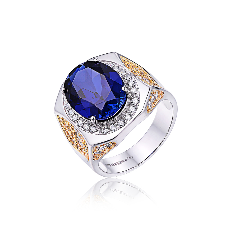 925 sterling silver cz pave real blue sapphire gemstone 링 대 한 men