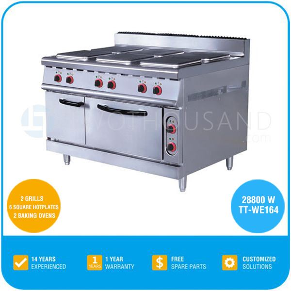 Electric Restaurant Kitchen Ceramic 6 Square Hotplate Cooking Range