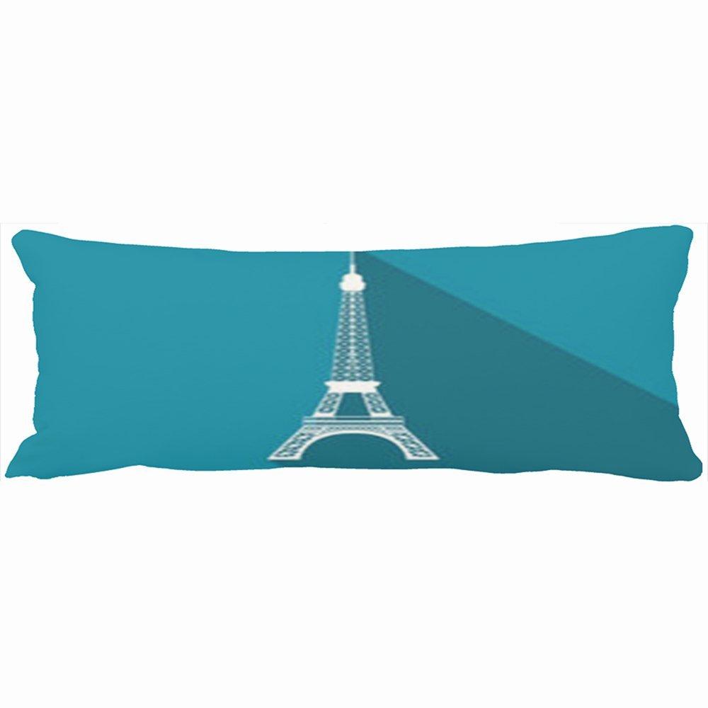 YOYOSmile Body Pillows Home Sofa Unique Fashion Design Eiffel Tower Eiffel Tower Flat Icon Long Shadow 20X54 Inches Rectangle Size