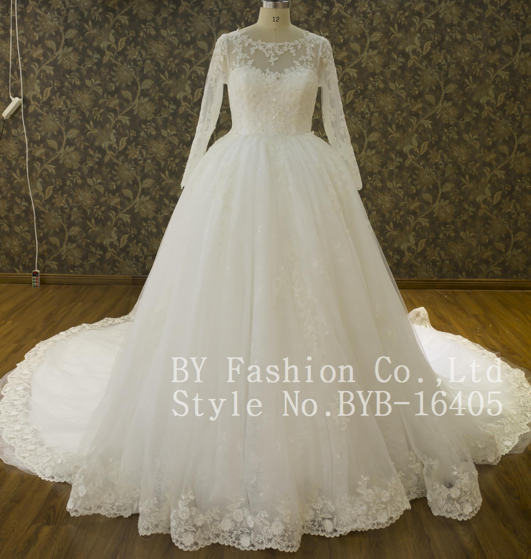 Newest Design Ball Gown Long Sleeve Heavy Bead Fashion Bridal Dress ...