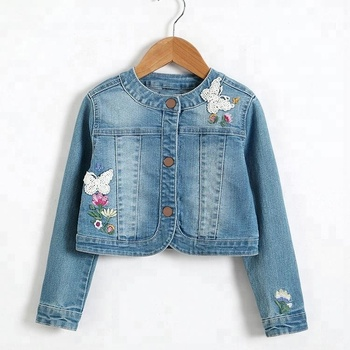 Suppliers wholesale normal long sleeve children denim jackets with lace patch