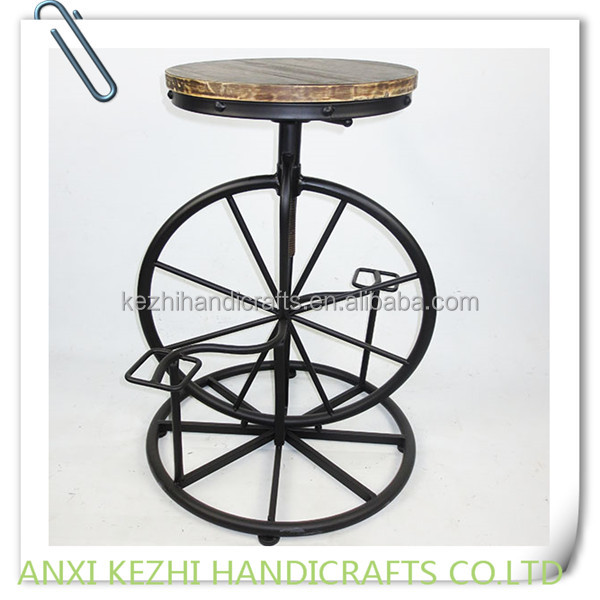KZ150282 antique metal bar stool with wood seat