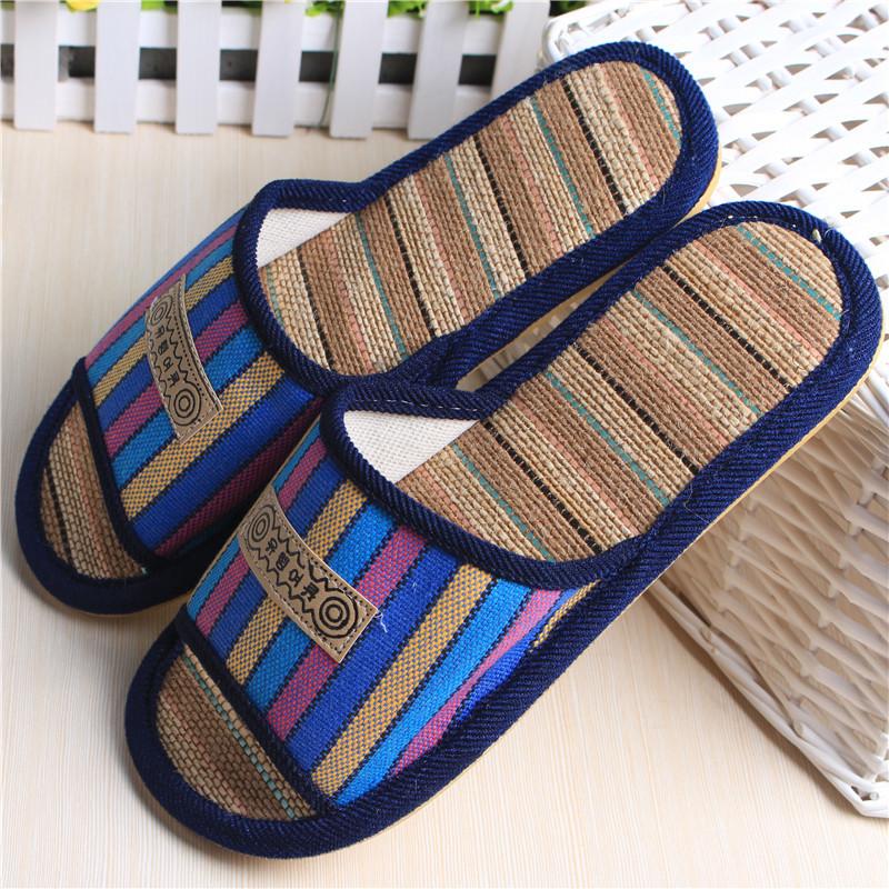 Summer Open Toe Linen House Slippers Indoor Flooring
