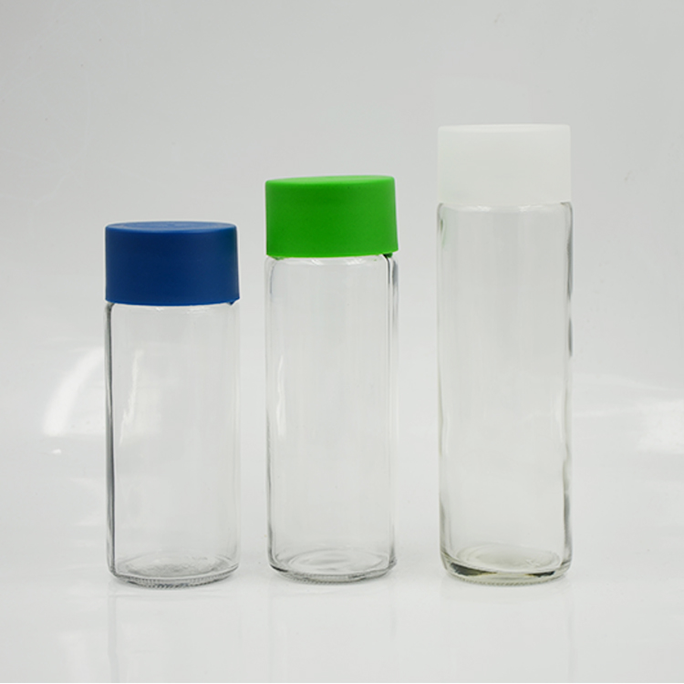 Glass bottle 500ml Round shape Clear Glass Voss Water Bottle with grew plastic cap for milk juice tea sparkling фото