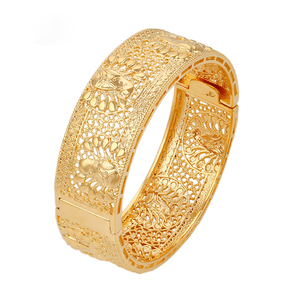 xuping jewelry 24k gold plated indian bridal saudi arabic bangle for women, saudi gold jewelry