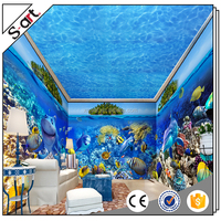 High resolution blue sea world canvas wall art 3d printing service