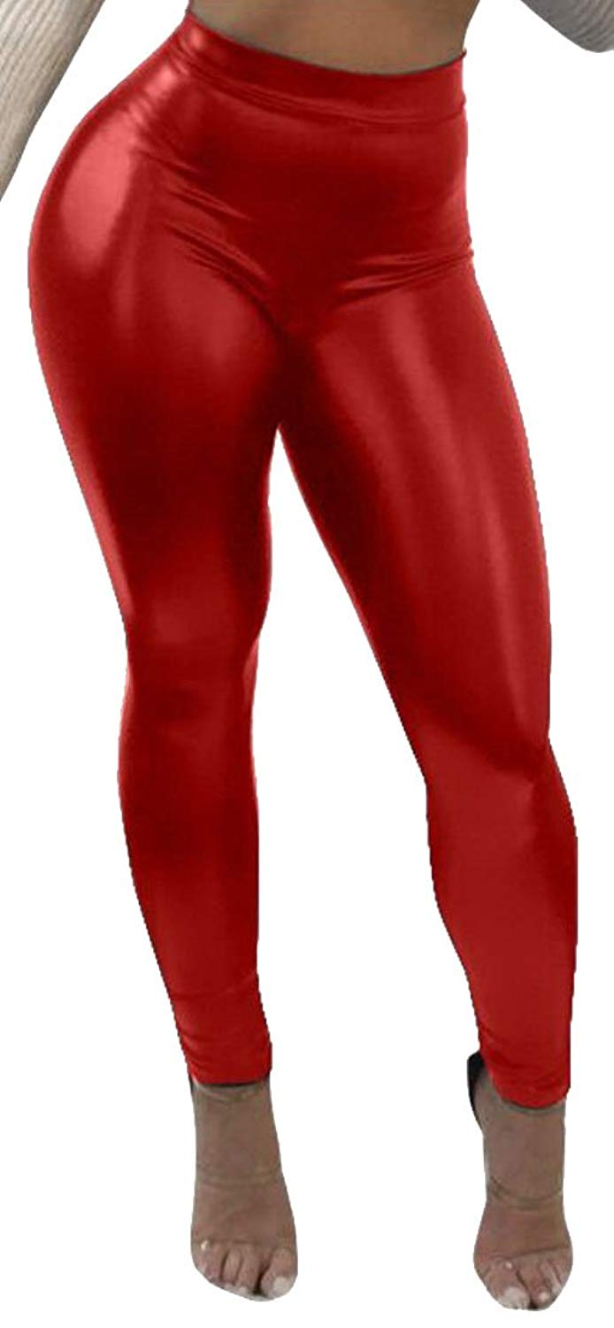 b1b365a30ab00 Get Quotations · WSPLYSPJY Women's Sexy Solid Color Pants Liquid Shiny  Metallic Stretch Leggings Red XS
