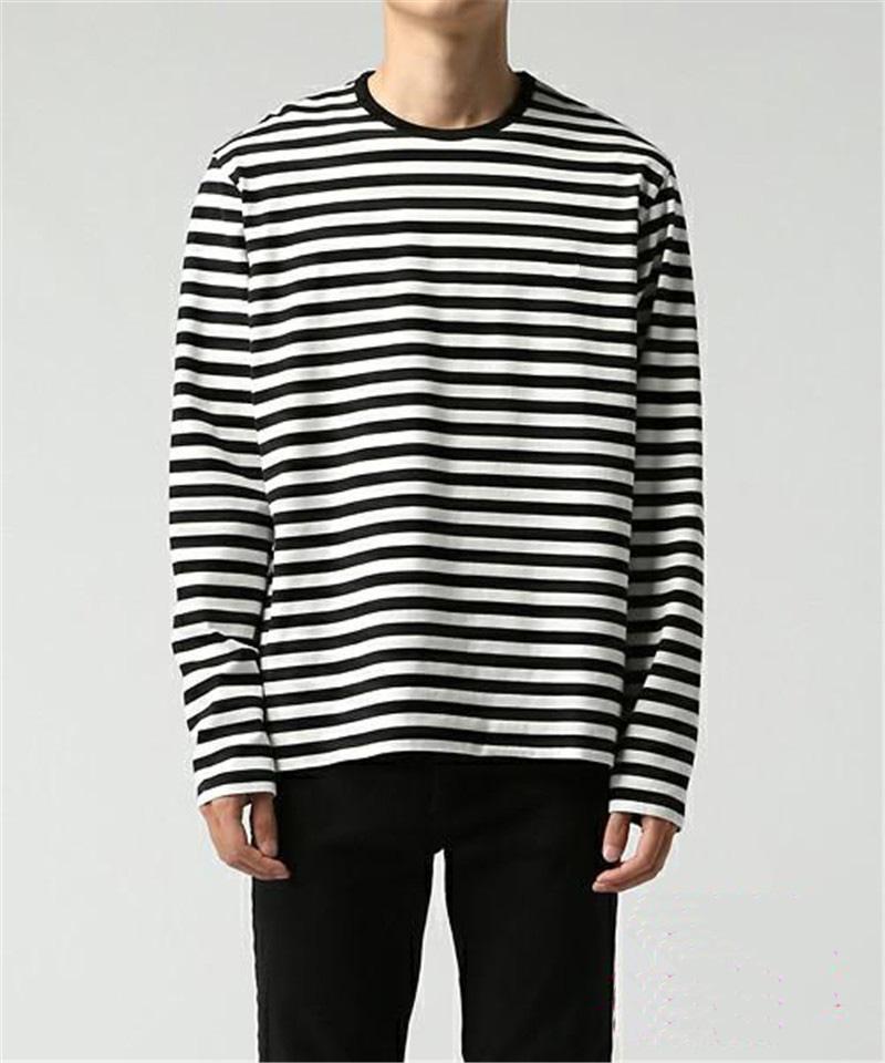 Korean Harajuku Black White Striped T Shirt Men S Loose Oversize