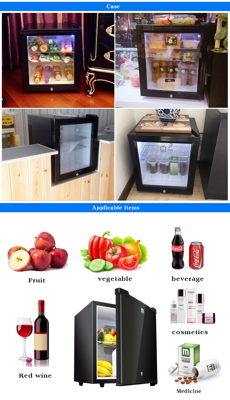 LVNI branded table top no noise 30 liter hotel door mini bar display fridge refrigerator cooler with no compressor but led light