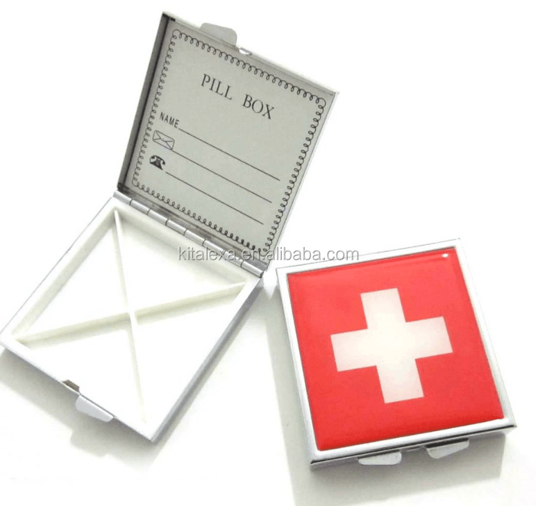 KA-PB000135 Metal square pocket pill box/pill case/pill container