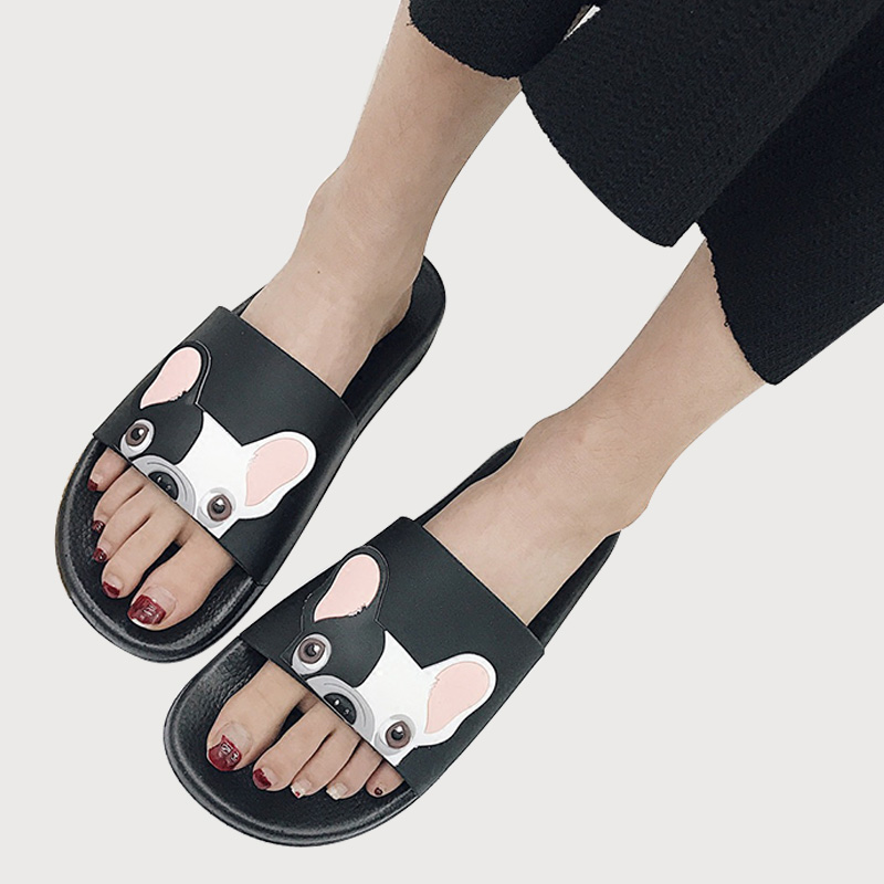 AIMINYZ Bulldog <strong>Slippers</strong> Summer Beach Women Cartoon Shoes Outside Cute Funny Bathroom Floor Home Animal <strong>Slipper</strong> for Women Female