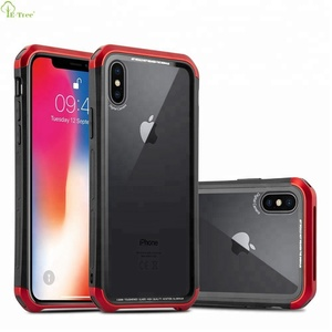 Luxury Aluminium Alloy Metal Frame Bumper Tempered Glass Bakc Cover Case For iPhone X