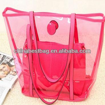 Promoción de ventas 100% originales gran descuento transparente pvc bolsa de playa conjunto con bolsa pequeña ...