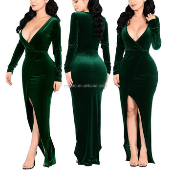 a0f63f7038 Women Deep V Neck Long Sleeve Velvet Evening Party Dress Sexy Bodycon Split  Side Custom Embroidered