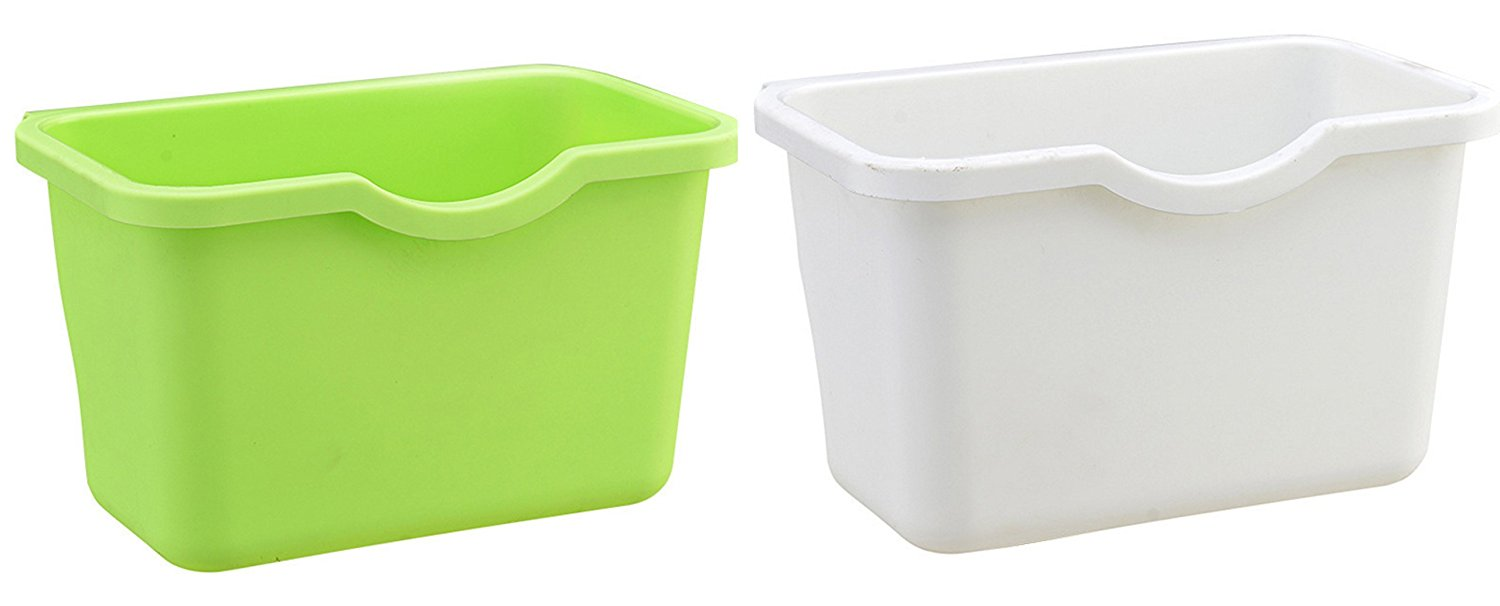 Creative Kitchen Plastic Basket Wastebaskets Hanging Trash Can Waste Bins Deskside Recycling Garbage Bowls Can Containers ,Pack of 2 (Green+White)