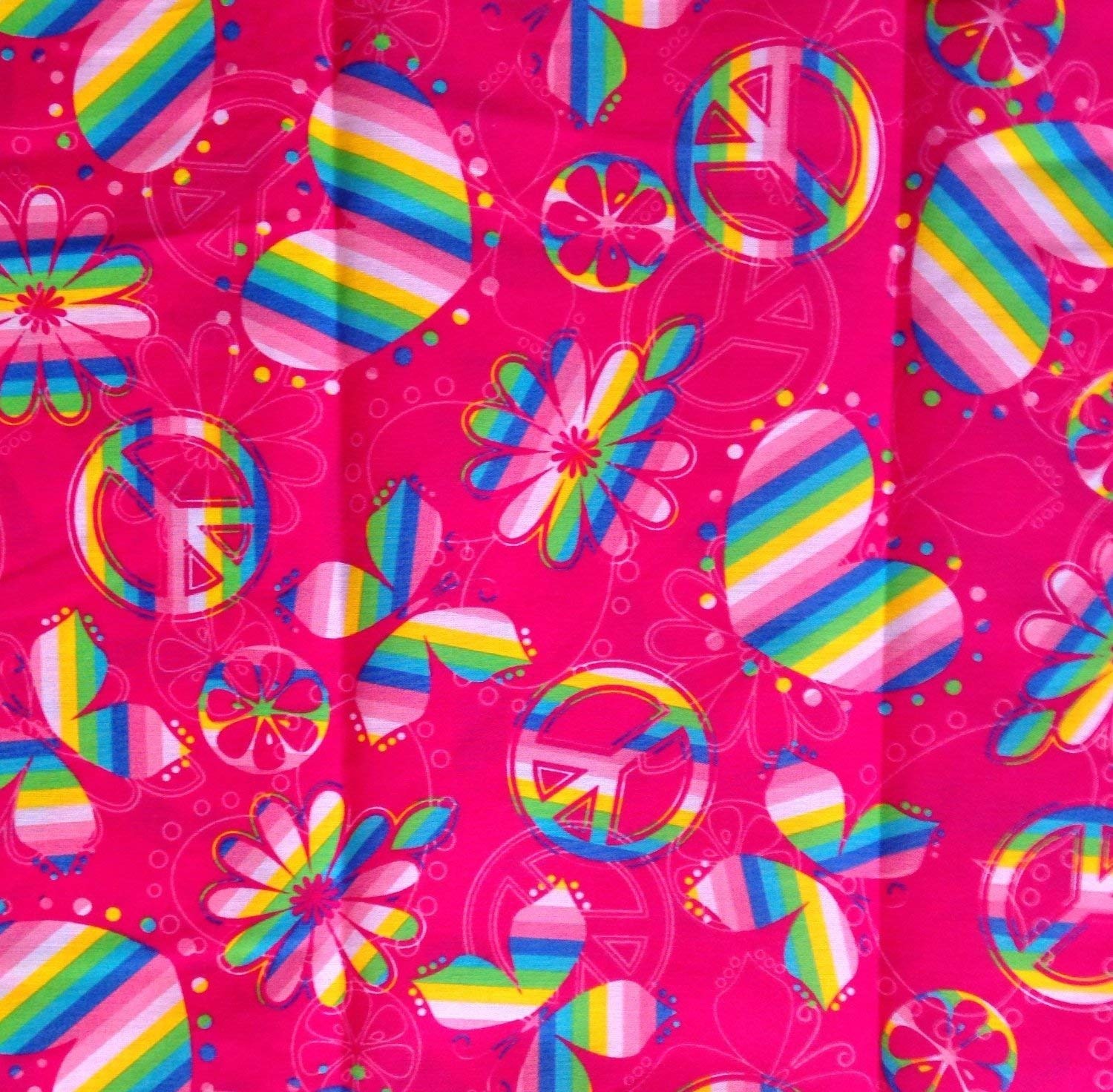 "1/2 Yard - ""Rainbow Peace & Love"" Peace Signs, Butterflies & Hearts Tossed on Pink Cotton Fabric (Great for Quilting, Sewing, Craft Projects, Curtains, Pillows, & More) 1/2 Yard x 44"" Wide"