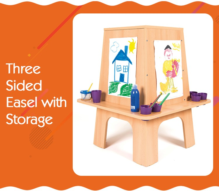 Three Sides Wooden Easel Stand Montessori Kids Drawing Board