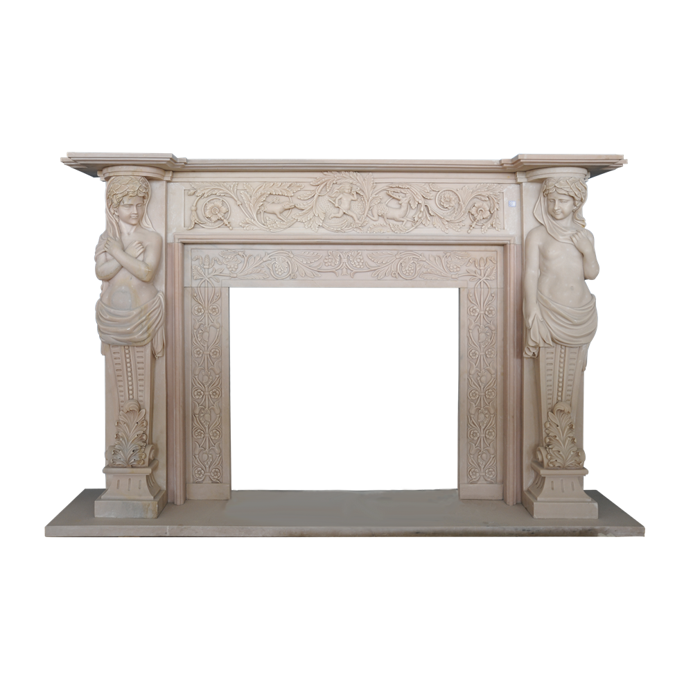 Yellow Marble Fireplace Design Decorative Fireplace Stone Indoor Used Fireplace Mantel FP005